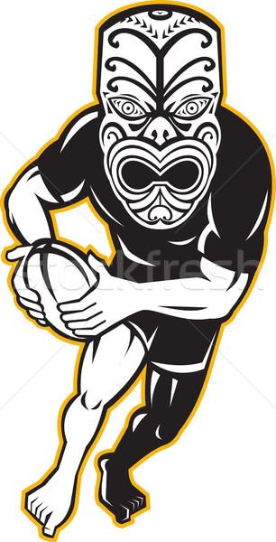 Maori Mask Rugby Player Running With Ball Stock photo © patrimonio