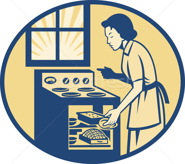 Huisvrouw bakker oven kachel retro Stockfoto © patrimonio