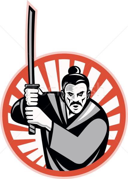 самураев воин меч ретро иллюстрация Сток-фото © patrimonio