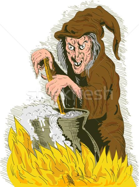 Witch stirring cooking brew pot Stock photo © patrimonio