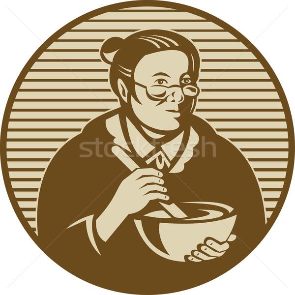 granny cooking ixing bowl Stock photo © patrimonio