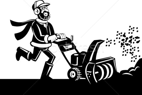 Homme neige ventilateur cartoon style blanc noir Photo stock © patrimonio
