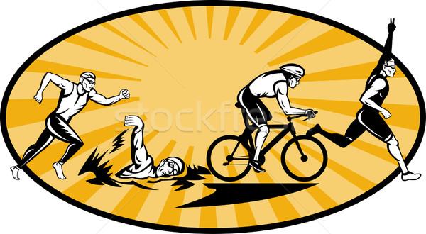 トライアスロン 選手 泳ぐ 自転車 実行 競争 ストックフォト © patrimonio