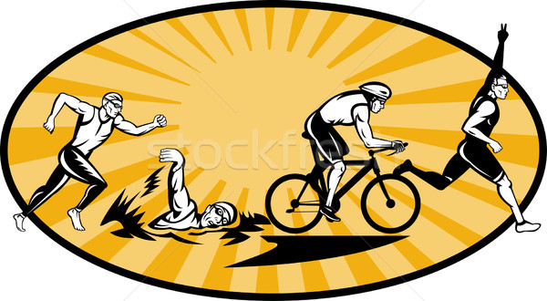 Stock photo: Triathlon athlete swim bike and run competition