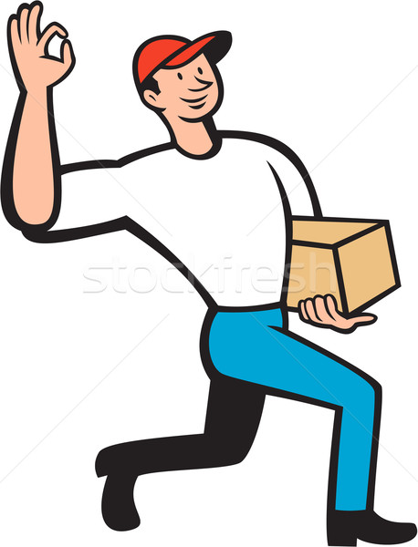 Delivery Worker Deliver Package Cartoon Stock photo © patrimonio
