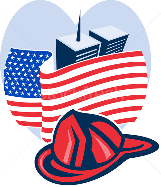 american flag with twin tower building firefighter helmet Stock photo © patrimonio