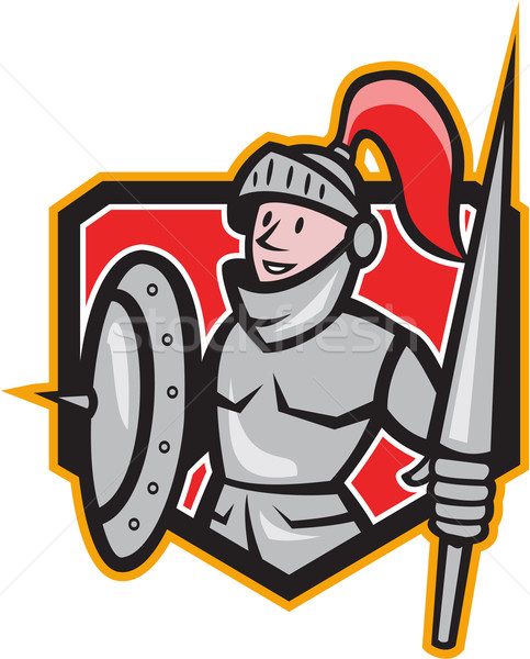 Knight Shield Lance Crest Cartoon Stock photo © patrimonio