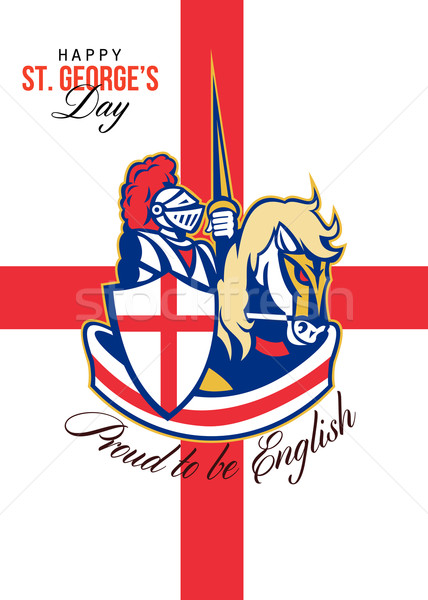 Szczęśliwy dzień dumny angielski retro plakat Zdjęcia stock © patrimonio