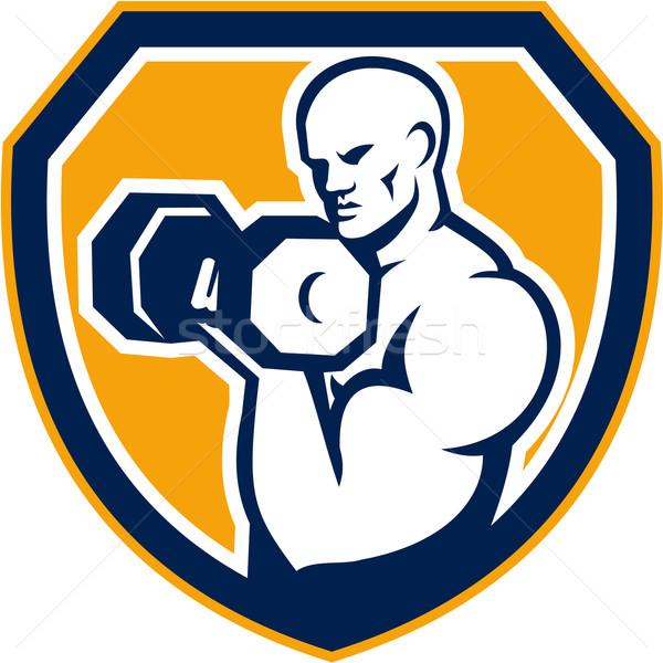 Strongman Pumping Dumbbells Shield Retro Stock photo © patrimonio