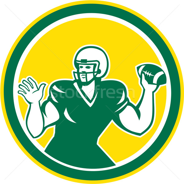 American Football Quarterback QB Circle Retro Stock photo © patrimonio