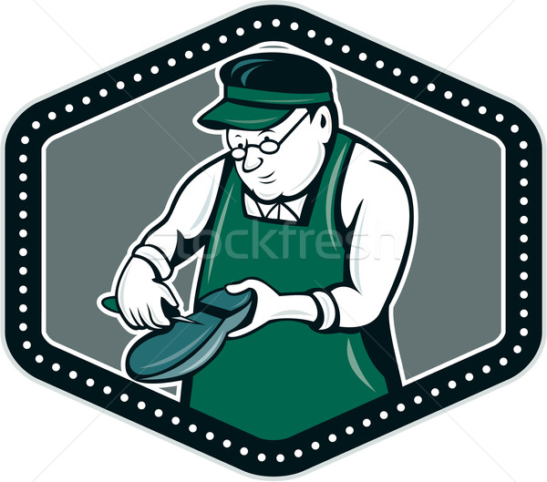 Shoemaker Cobbler Shield Cartoon Stock photo © patrimonio