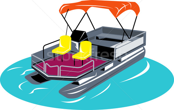 pontoon boat woodcut retro style Stock photo © patrimonio