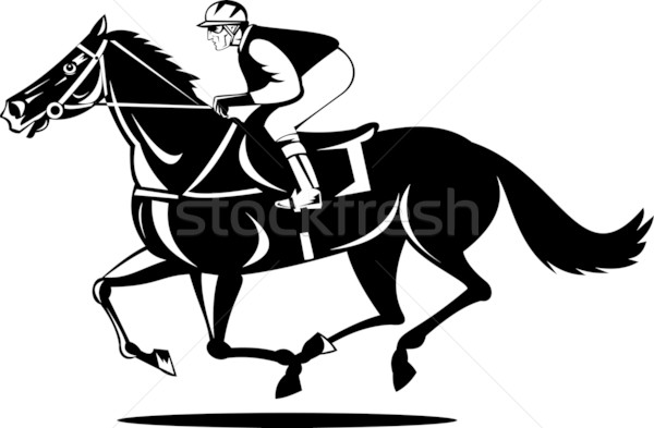 Jockey and horse racing side view Stock photo © patrimonio