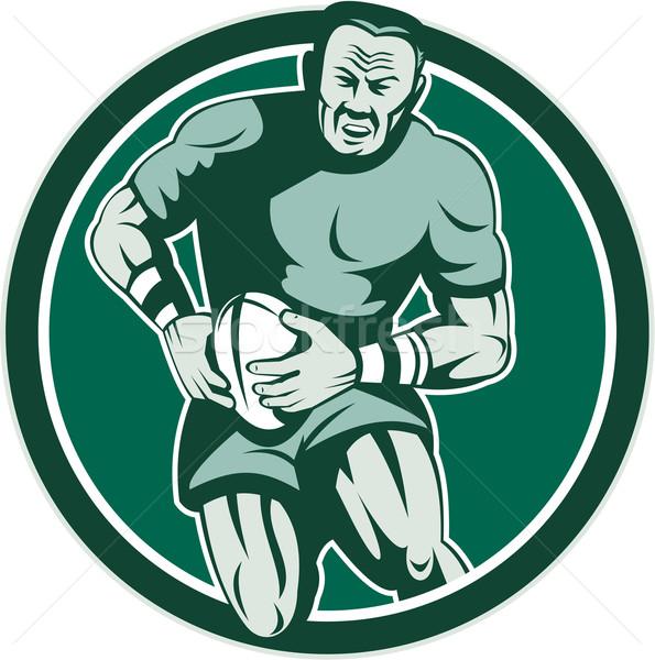Rugby speler lopen cirkel retro illustratie Stockfoto © patrimonio