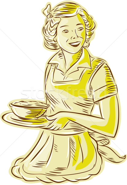 Homemaker Serving Bowl of Food Vintage Etching Stock photo © patrimonio