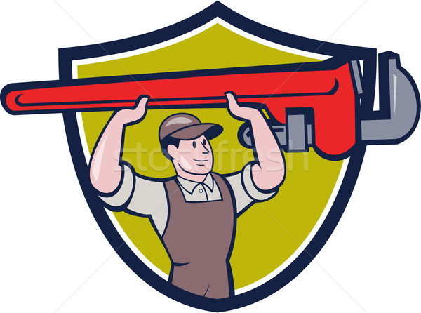 Plumber Lifting Monkey Wrench Crest Cartoon Stock photo © patrimonio