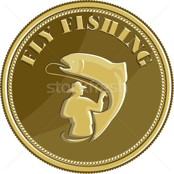 Voar pescaria moeda de ouro retro ilustração pescador Foto stock © patrimonio