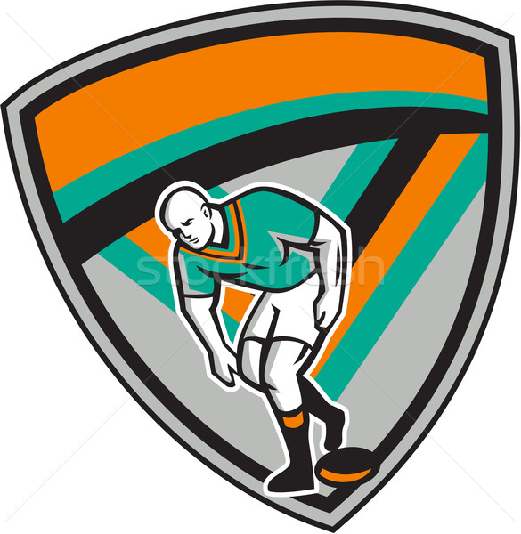 Rugby lig oyuncu oynama top kalkan Stok fotoğraf © patrimonio