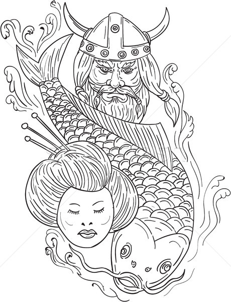Viking Carp Geisha Head Black and White Drawing Stock photo © patrimonio