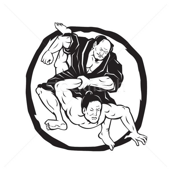 Samuray judo kavga çizim örnek iki Stok fotoğraf © patrimonio