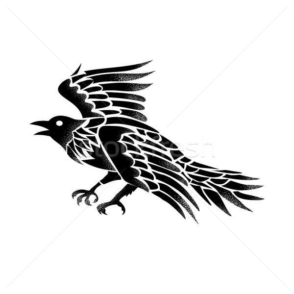 Raven Flying Side Tattoo Stock photo © patrimonio