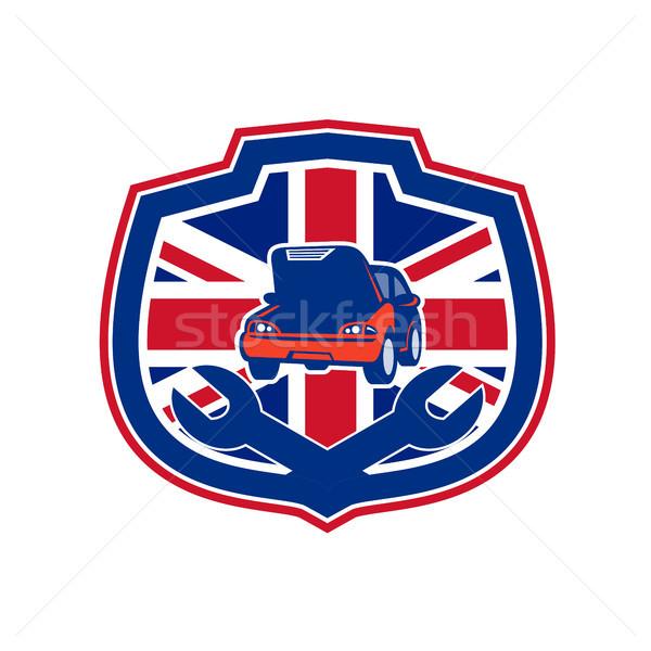 Brits auto reparatie winkel union jack vlag Stockfoto © patrimonio