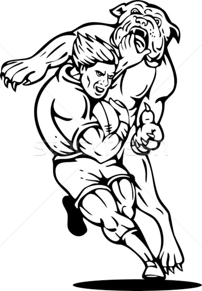 rugby player tackled by bulldog Stock photo © patrimonio
