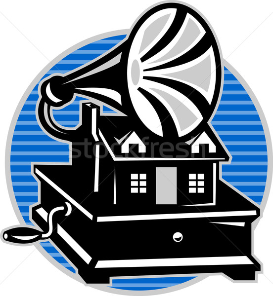 Stockfoto: Vintage · grammofoon · oude · huis · illustratie · huisje · retro