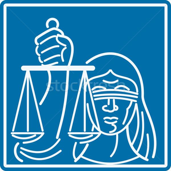 Dame mit verbundenen Augen halten Skalen Gerechtigkeit Illustration Stock foto © patrimonio