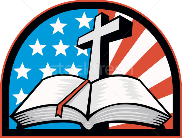 Bible With Cross American Stars Stripes Stock photo © patrimonio