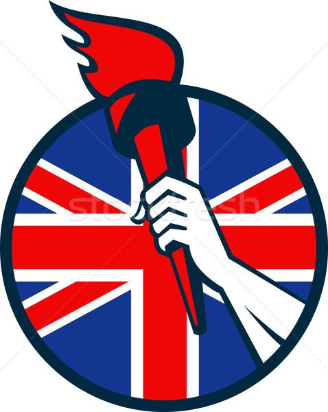 Hand Holding Flaming Torch British Flag Stock photo © patrimonio