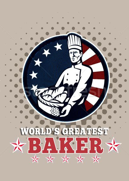 Legnagyszerűbb pék üdvözlőlap poszter illusztráció amerikai Stock fotó © patrimonio
