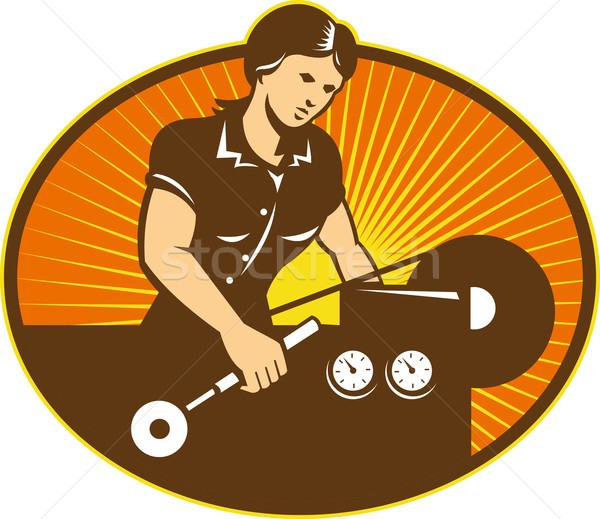 Female Machinist Worker Lathe Machine Stock photo © patrimonio