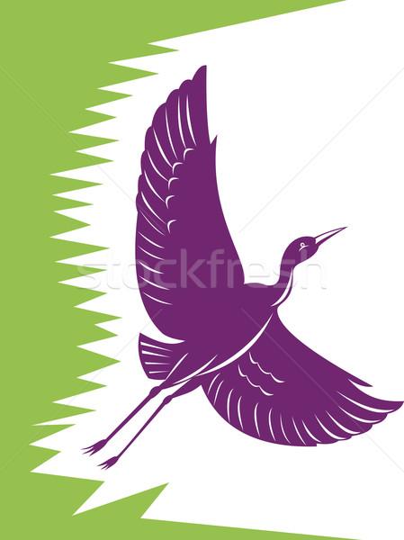 Heron Crane Flying Retro Stock photo © patrimonio