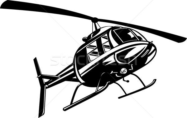 Hélicoptère rétro illustration vol battant style rétro Photo stock © patrimonio