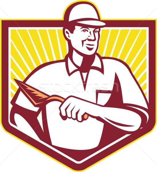 Mason kamieniarstwo pracownika retro ilustracja pracownik budowlany Zdjęcia stock © patrimonio
