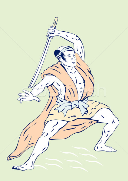 Samurai krijger zwaard illustratie vechten houding Stockfoto © patrimonio