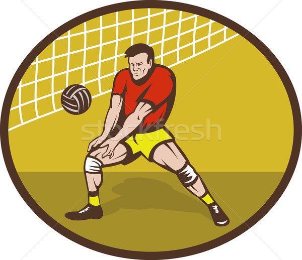 Volleyball Spieler Streik Ball Illustration Set Stock foto © patrimonio