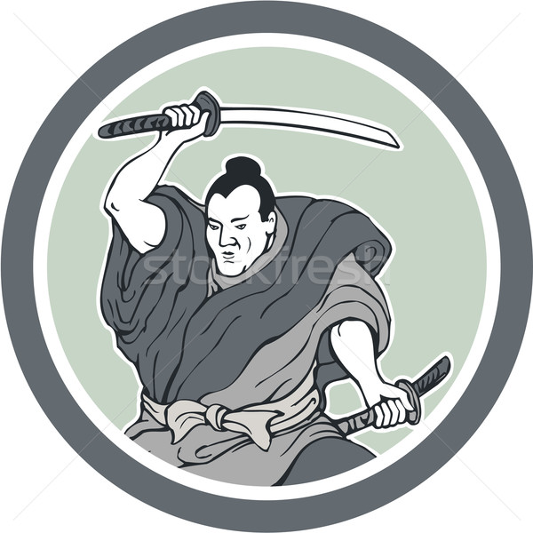 Samurai Warrior Wielding Katana Sword Circle Stock photo © patrimonio