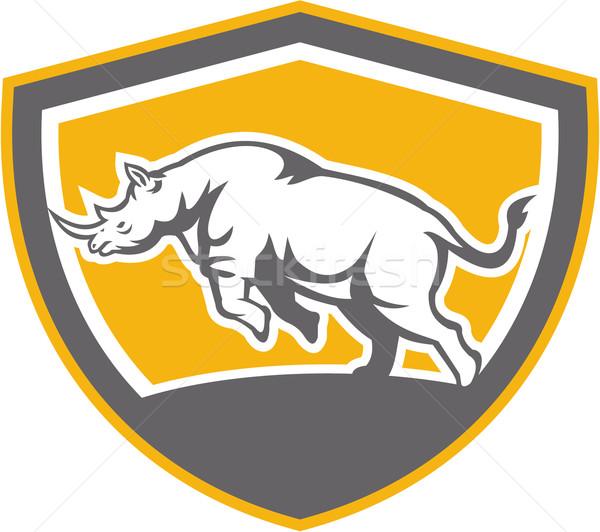 Nosorożec strona tarcza retro ilustracja widok z boku Zdjęcia stock © patrimonio
