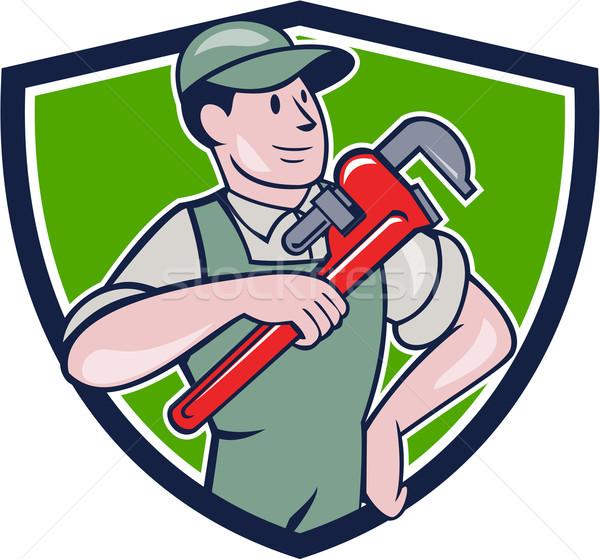 Plumber Pointing Monkey Wrench Shield Cartoon Stock photo © patrimonio