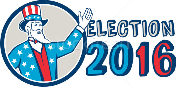 Election 2016 Uncle Sam Hand Up Circle Retro Stock photo © patrimonio