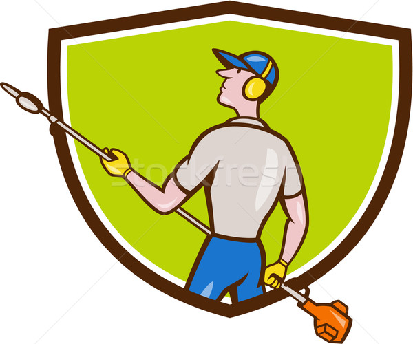 Gardener Hedge Trimmer Crest Cartoon Stock photo © patrimonio