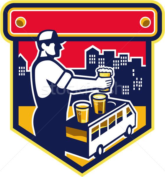 Csapos sör város furgon címer retro Stock fotó © patrimonio