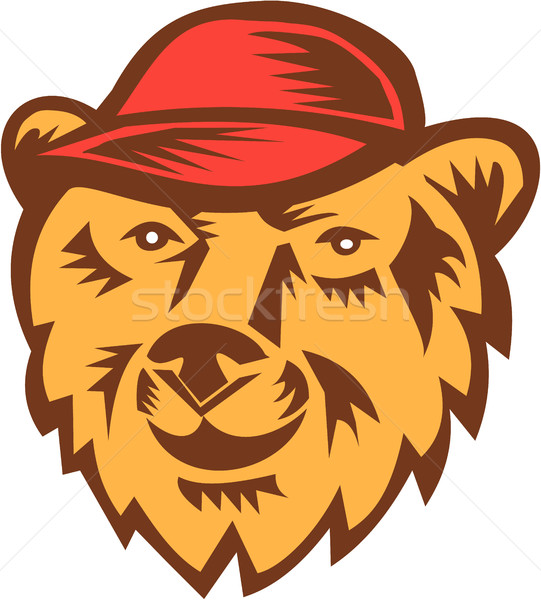 Bear Head Wearing Hat Woodcut Stock photo © patrimonio
