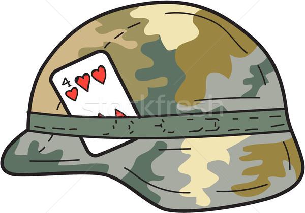 US Army Helmet 4 of Hearts Playing Card Drawing Stock photo © patrimonio
