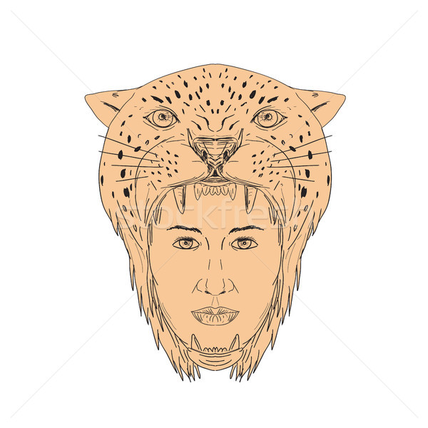 Female Aztec Warrior Jaguar Headdress Drawing Stock photo © patrimonio