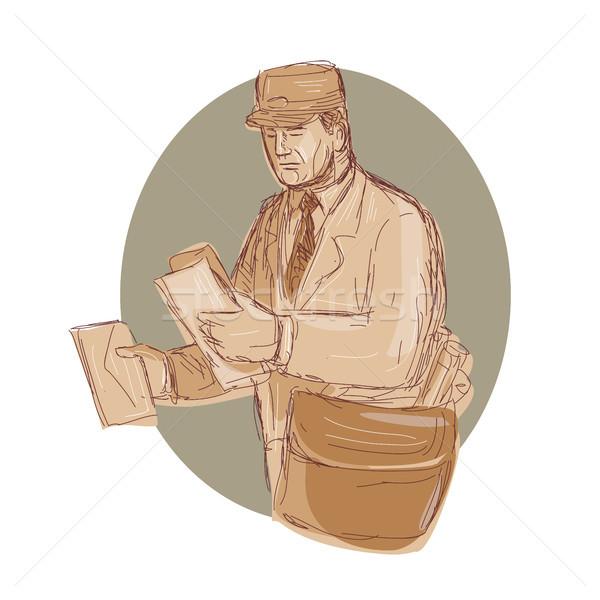 Klasszikus postás levél rajz illusztráció posta Stock fotó © patrimonio