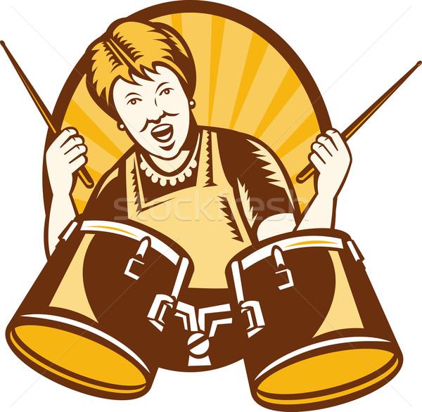 Granny Playing The Drums Retro Woodcut Stock photo © patrimonio