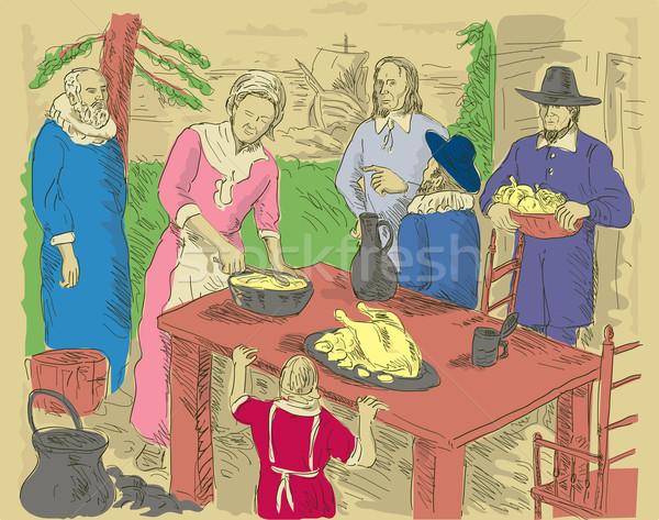 Vieren eerste dankzegging diner illustratie Stockfoto © patrimonio